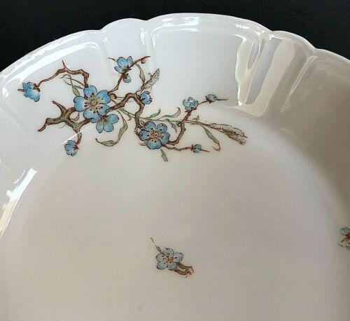 Antique Lot of 3 Haviland & Co Limoges H&C Bowls Blue Floral Scalloped Pleated