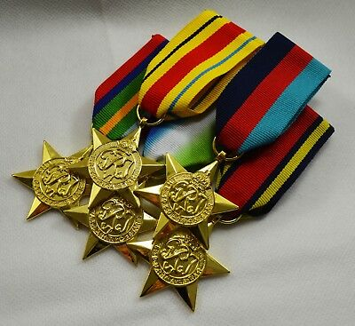 24ct Gold WW2 Medals, Ribbons. 1939-1945, Africa, Burma, Pacific, Atlantic Star