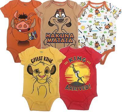 Disney The Lion King 2019 Baby 5 Pack Set Bodysuit Ultra Soft Snap