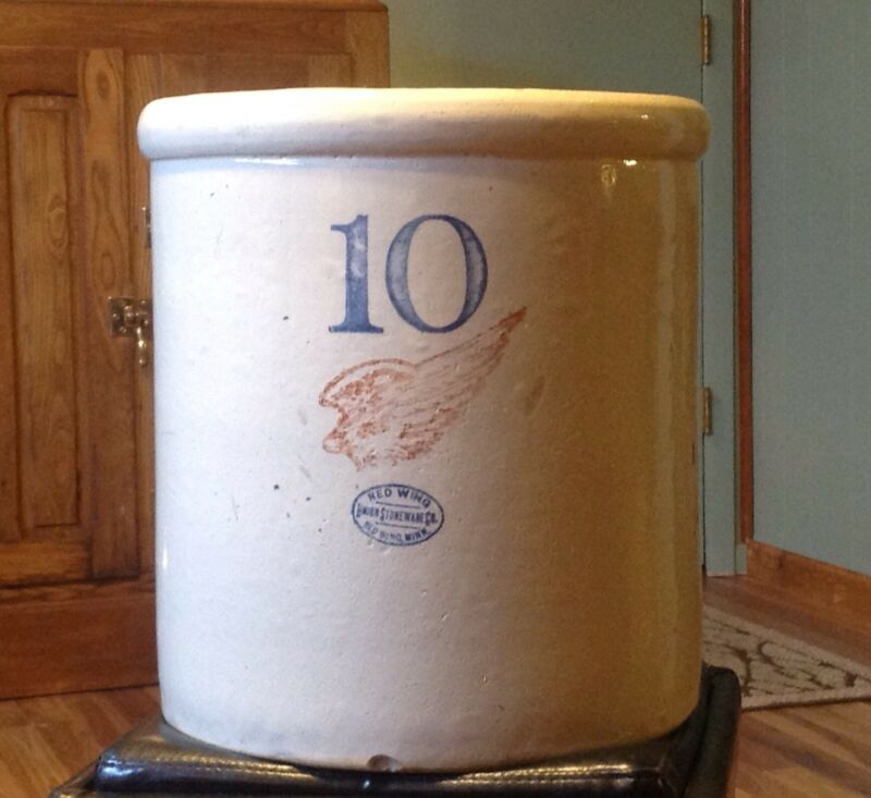 "Antique Vintage 10 Gallon Red Wing Union Stoneware Crock, 6"" Wing, Block Numbers"