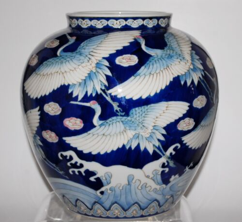 Large Japanese Vase Cranes and Waves Design Arita Porcelain. Signed.