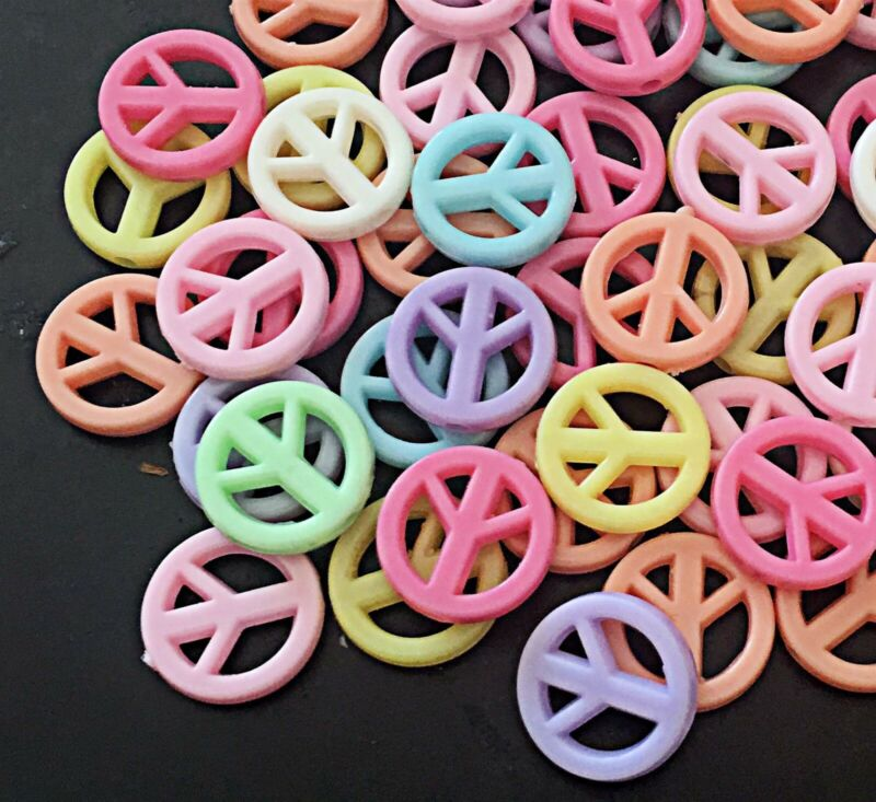 Bulk Mixed Pastel Colors Peace Sign Acrylic Beads spacer 16mm 5 bags