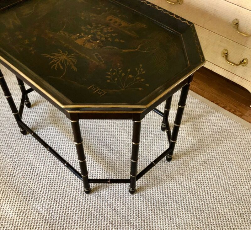Vintage BAKER FURNITURE Chinoiserie Faux Bamboo Coffee Table