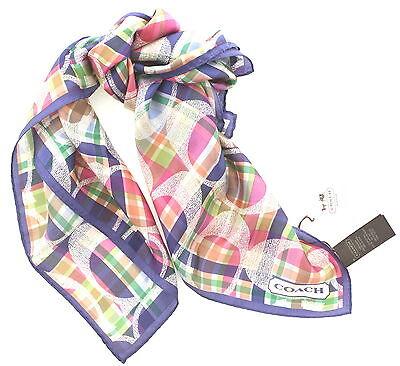New Coach Daisy Madras 100% Silk Neck Head Wrap Purse Tie Scarf 27x27 F83511 $68