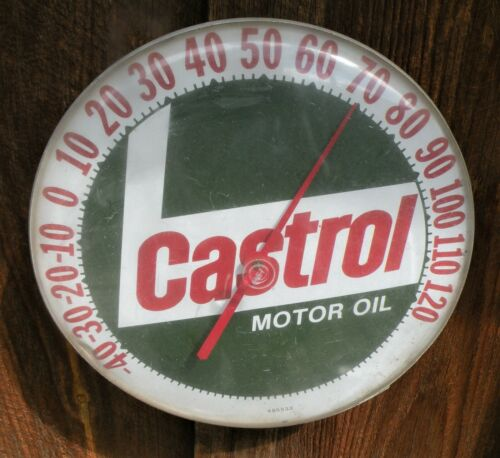 """Vintage 1960s CASTROL MOTOR OIL METAL ADVERTISING ROUND THERMOMETER 12"""""""
