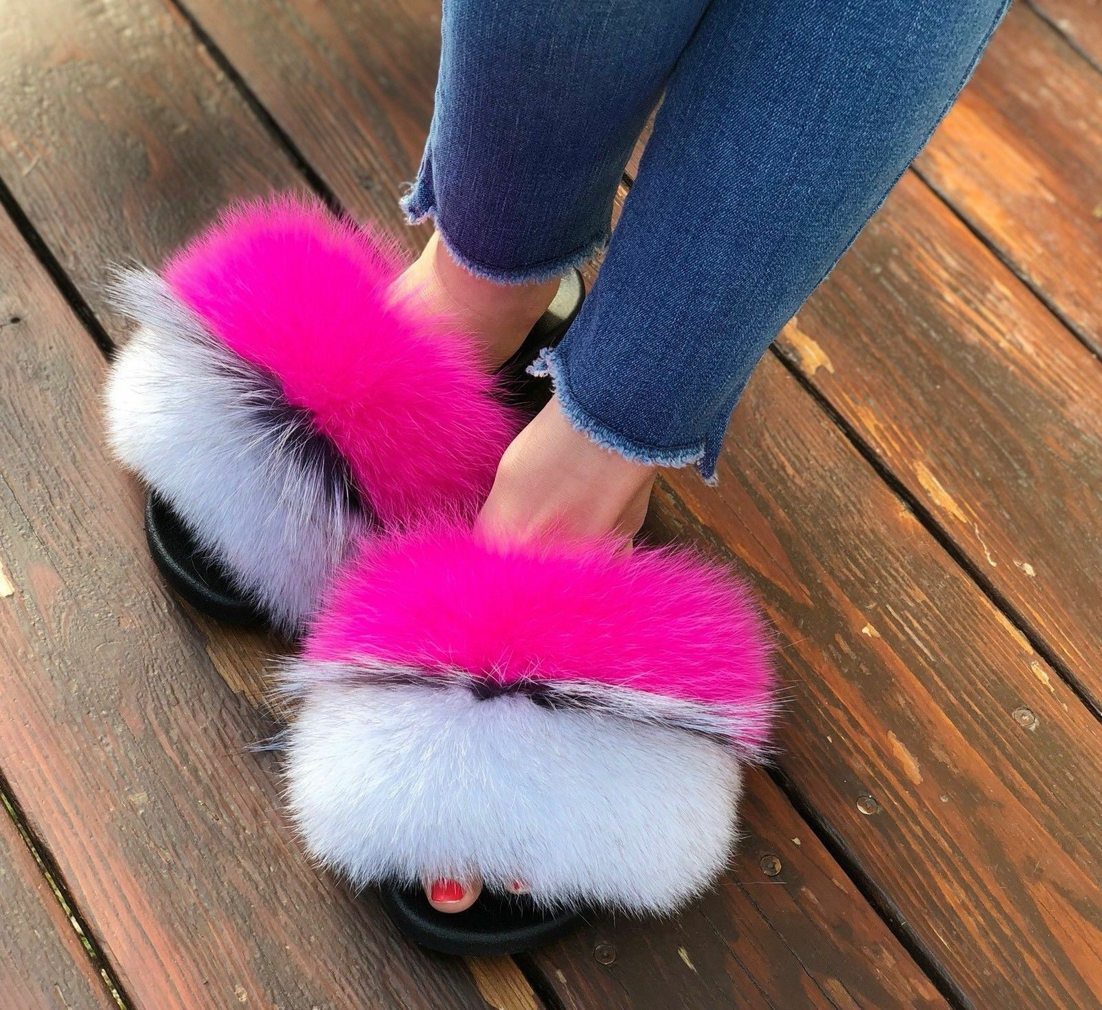 Large Fluffy Real Fox Raccoon Fur Women Slippers Shoes Flat Slides @#