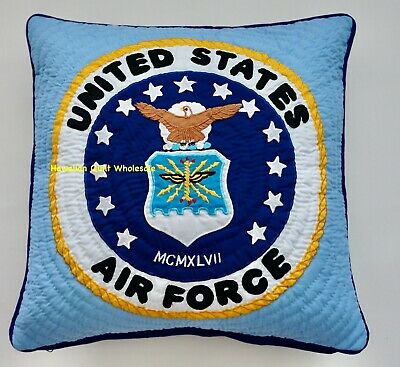 Air Force PILLOW COVER CUSHION hand quilted/machine embroidered