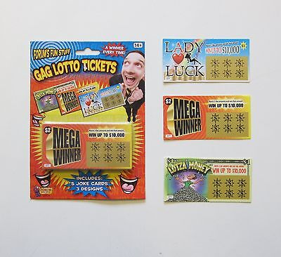 5 Fake All Winning Scratch Off Lottery Tickets Phony Lotto Ticket Joke Prank