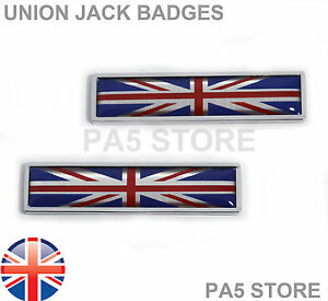 2x Union Jack Chrome Wing Badges Car Van GB Bike Ford Mini Vauxhall TVR Jaguar