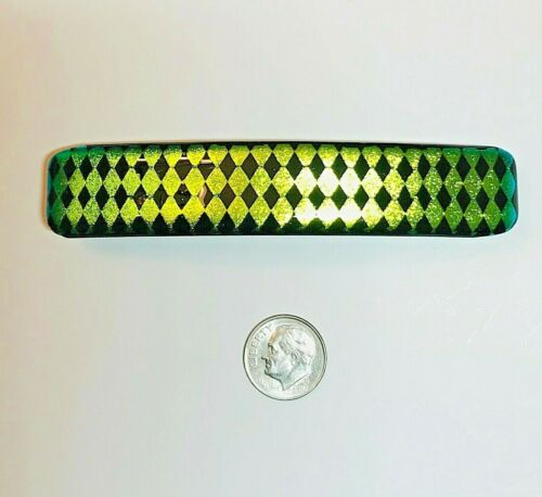 """Handmade By Janet Wolery - 4"""" Dichroic Fused Glass Barrette - DOUBLE DIAMONDS"""