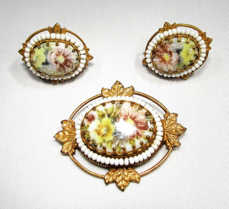 Estate Vintage Miriam Haskell Floral Porcelain Brooch Earrings Set C1944
