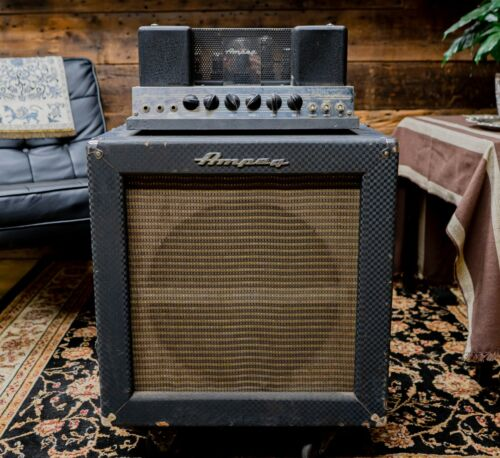 1960s Ampeg B-15N Head and Cabinet Bass Amplifier - Blue Diamond Tolex