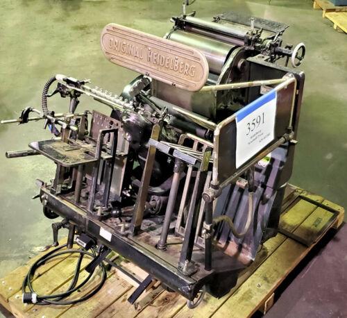 """Original Heidelberg Windmill 10x15"""" (26x38cm) Platen Printing Press - Inv #3591"""