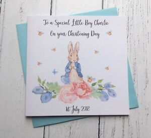 Personalised Peter Rabbit Christening Day Card -Grandson, Godson, Son, Nephew