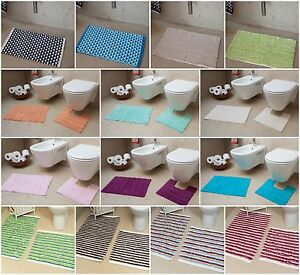 New Easy Clean 100% Cotton Bathroom Mats Set - Washable ...