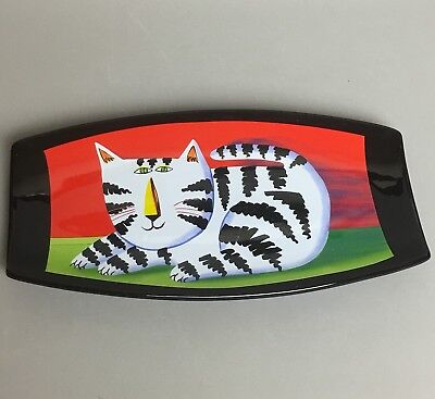 Mary Naylor Designs Decorative Wall Hanging Tray Whimsical Black White Cat EUC