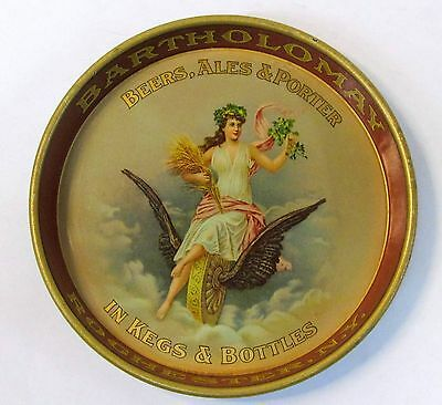 circa 1910 BARTHOLOMAY BEER Rochester NY tin litho tip tray ashtray  High Grade