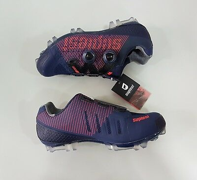 Suplest Crosscountry XC Pro Carbon Mountain Bike MTB Shoes Size 42.5 Navy Coral ()