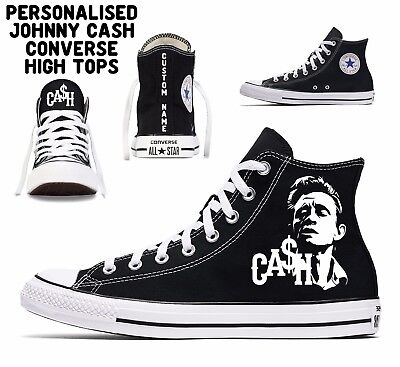 personalised johnny cash custom converse all star mens womens high tops name  - Converse Personalised