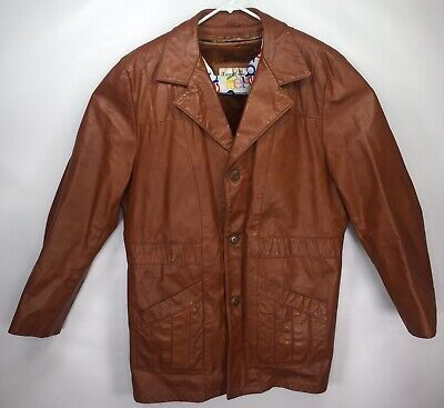 70s Vintage SEARS The Leather Shop Mens 48 TALL Brown Blazer Fleece Lined Jacket Fleece Vintage Blazer