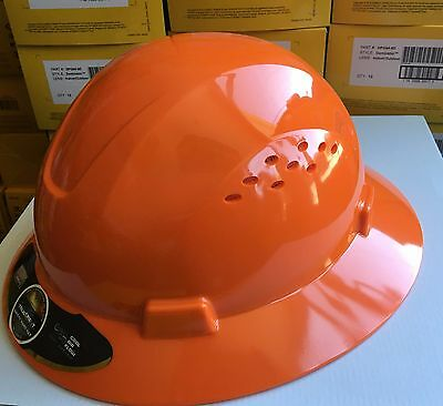 Hdpe  Orange Full Brim Hard Hat With Fas Trac Suspension
