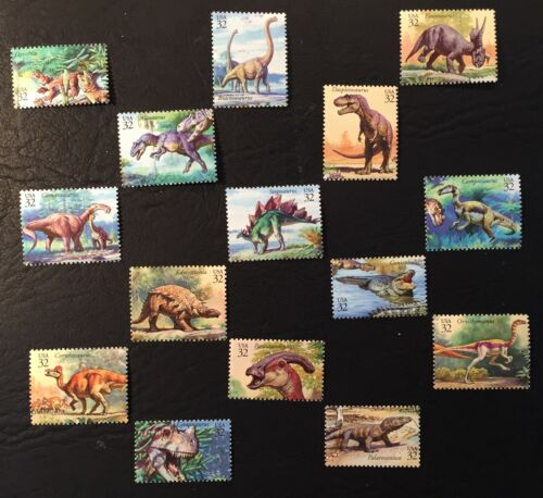 1997 Scott #3136 - 32¢ DINOSAURS - Set of 15 Singles - Mint NH