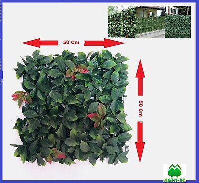 Siepe Artificiale Finta 50 x 50 cm Sintetica in Plastica Foglia Verde giardino