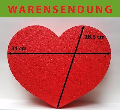Styropor Herz 1 Stück rot 34 x 28,5 Höhe 5 cm Hochzeit Geschenkidee Wand gefärbt