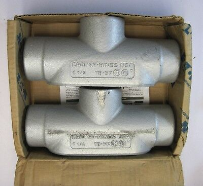 Box Of 2 Crouse Hinds Tb57 1-12 T Condulet Body Form 7 Conduit Body