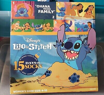 Disney Lilo & Stitch 15 Days of Socks Advent Calendar 2019 Womens sz 4-10