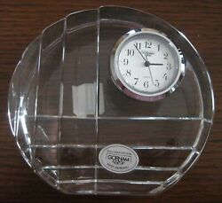 Gorham Full Lead Crystal Desk Clock Paperweight C807 - New