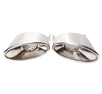 Edelstahl Endrohr Set in RS6 Optik in 2x 92x157mm oval gebördelt abgeschrägt