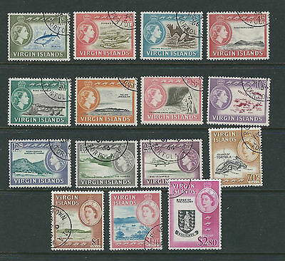 VIRGIN ISLANDS 1964 QEII definitives complete (Scott 144-58) VF USED