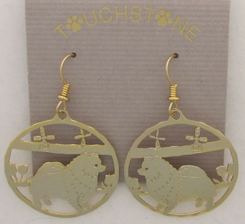 Keeshond Jewelry Gold Dangle Scene Earrings by Touchstone