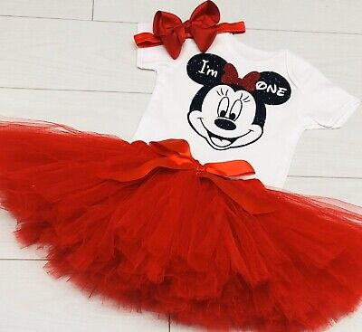 Minnie Mouse Smash Cake (Luxury Girls Cake Smash Outfit 1st Birthday Vest Set Tutu Skirt Minnie Mouse)