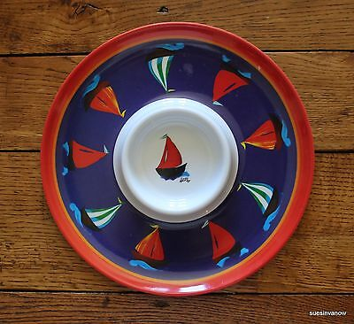 Sail Boat Chip & Dip Bowl Platter Beach Ocean Fishing Summer Fun Party Breeze
