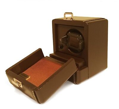 Scatola Del Tempo Watch Winder - 1RT OS Dark Brown Leather, Made in Italy Del Tempo Leather Watch Winder