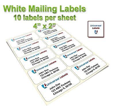 Blank Address Labels 10 Per Sheet 4 X 2 Inkjet Laser Fits Word Template
