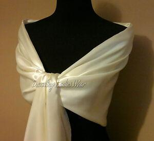 Ivory-Cream-Large-Satin-Shawl-Wrap-Stole-Bolero-Pashmina-Shrug-Scarf-Wedding-New