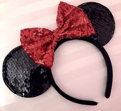 NEW Minnie Mouse Classic Sequin Red Bow Black Color Changing Ears Headband](Classic Minnie Mouse Party Supplies)