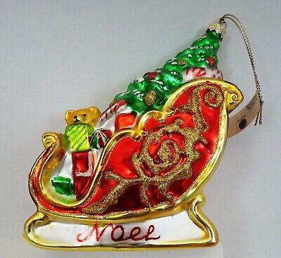 "New 6"" Martha Stewart Collection Glass Santa's Sleigh Christmas Ornament Noel Ho"
