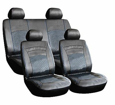 8 PIECE LEATHER LOOK PVC CAR SEAT COVERS BLACK + BLUE STITCHING MERCBB for sale  Bolton