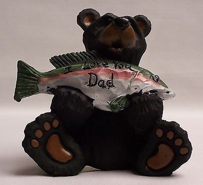 """BLACK BEAR FIGURINE """"I LOVE YOU DAD"""" HOME & CABIN DECOR FATHERS DAY (EAC)"""