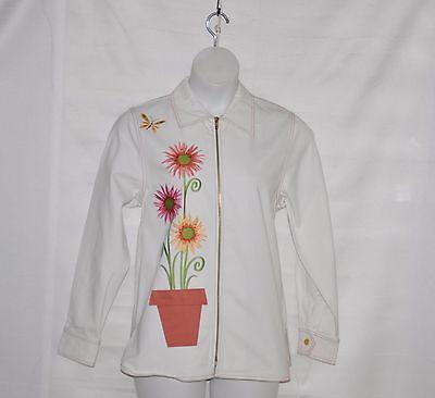 Bob Mackie Twill Jacket w/ Floral Embroidery Size S White
