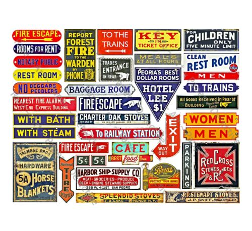 Model Train Signs, G Scale, General Store & Farm Advertising, 1 STICKER SHEET