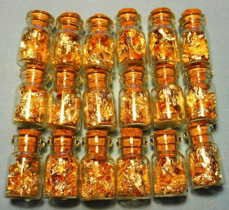 50 glass vials of 24K GOLD leaf flakes sealed with cork no liquid BEST ON WEB