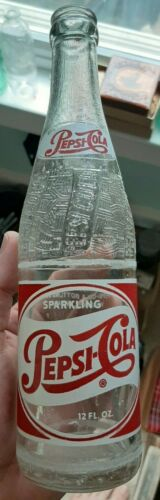 RED & WHITE PEPSI COLA 1950S VINCENNES INDIANA CROWN TOP SODA BOTTLE FREE SHIP
