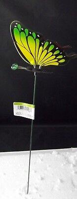 Exhart 3D Butterfly Yellow Green Plant Garden Stake Pick Metal 16