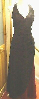 MORGAN WINE SATIN+BLACK DEVOUR HALTERNECK LACED BACK STEAM PUNK MAXI DRESS 13/14