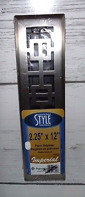 "Imperial RG3273 Oriental Design Floor Register, Satin Nickel, 2-1/4"" x 12"""